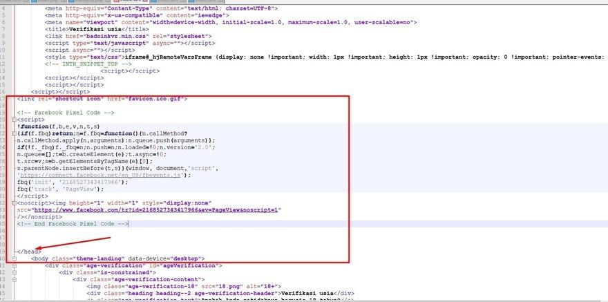 Найдите код заголовка вашего сайта